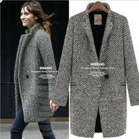 2013 Tops Designed New Fall/Winter Coat Women Black White Notch Stand Collar Long Sleeve Oversize Thick Warm Wool Jacket Coat