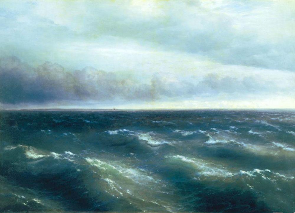 pintura a óleo ivan constantinovich aivazovsky- o mar negro com ondas do mar(China (Mainland))