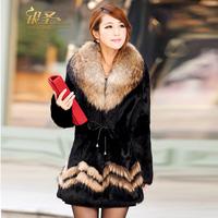 Winter Coat Women Fur Coat Rabbit Fur Raccoon Fur Collar Female Overcoat