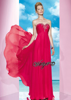 Beautiful Empire Beaded Red Evening Dress 2014 Free Shipping HL-EN1066