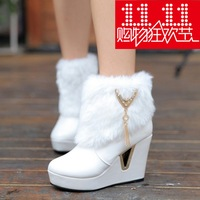 Autumn and winter fashion wedge boots elevator rabbit fur tassel boots zipper snow boots female high-heeled shoes