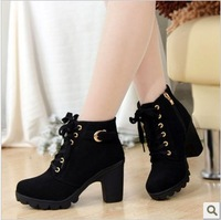 Autumn and winter high-heeled platform boots platform wedge boots ankle boots side zipper martin boots female shoes