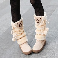 Snow boots high-leg big boy boots cotton winter women's platform flat shoes beige