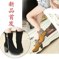 New arrival 2013 spring and autumn high-heeled shoes thick heels knee-high boots high heel side zipper boots female shoes