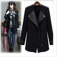 2013 new winter coat Slim zipper long coat women windbreaker jacket, fashion design, high quality