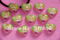 Kawaii Pink heart  Snow White Cabochon 30pcs/lot