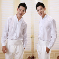 Groom shirt male formal dress swallow pointed collar bow tie shirt white shirt