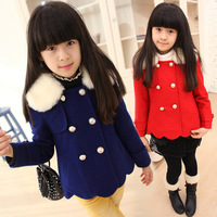 2014 new flower girl's jackets solid color fur collar thickening coat winter warm outerwear children's overcoat free shipping