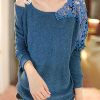 Free shipping-women's crochet cutout one shoulder sexy knitted sweaters