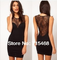 2013 women's dresses, lace stitching perspective halter vest sexy package hip Dress, Slim Dress