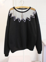 Women's 2013 casual strawberry gauze patchwork shoulder width o-neck pullover sweatshirt