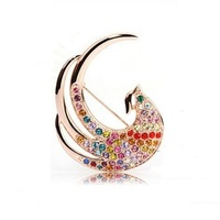 New Fashion 18K Rose Gold Alloy Luxury Austrian Crystal Phoenix Brooches Pins Women Wedding Jewelry Girl Rhinestone Brooch