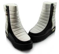 Winter black and white snow boots platform medium-leg thermal boots female boots increased boots