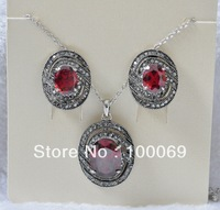 Min.order is $15 (mix order) Fashion Jewelry Hot Selling Oval Zircon Stone Necklace and Earring Set N1225E1225