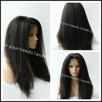 kinky straight front lace wigs virgin peruvian human hair with weft back natural color dye free 12-22inch baby hair around