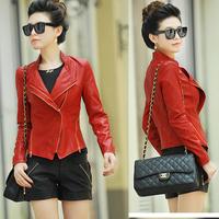 2013 slim short design leather clothing water wash Women genuine leather motorcycle leather coat jacket female