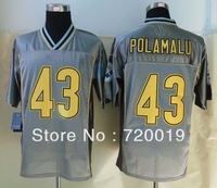 2013  Pittsburgh  43 Troy   Polamalu  Grey  Elite Jerseys American Football Jerseys M-XXXL  Free Shipping