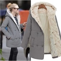 New 2013 CHIC Women Winter Autumn Casual Hooded Warm Thick Cotton Woolen Long Pluse Size Wool Blends Coat Outerwear XXL nx1229