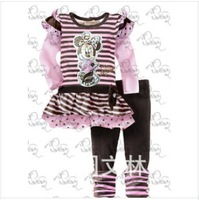2014 free shipping minnie mouse tshirt kids + trousers for girl spring clothing sets flower girl's princess cloth set