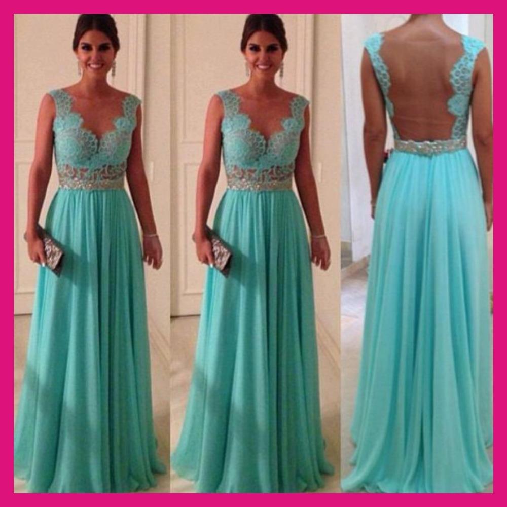 Turquoise, mousseline. nu. tulle à bas prix et le meilleur prix de vente de mariée robe de soirée 2014