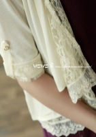 0.17kg water light lace patchwork sweet cardigan
