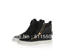 NEW Brand Giuseppe Black Stone Grain Double Zipper High-top Sneaker GZ Flat Casual Shoes For Men and Women Free Shipping