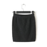 Women's slim elastic waist elastic knitted basic slim hip short skirt bust skirt