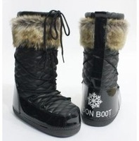 Moon space platform snow boots ,female wool medium-leg flat heel round toe boots,women snow shoes