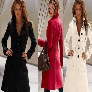 2013 Autumn & Winter Coat Женщины Slim Overcoat Brand Trench Woman Coat Cloak ...