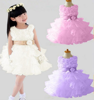 2014 Hot Girls dresses 1PCS Retail sleeveless Waist Chiffon Toddler 3D Flower Tutu Layered Princess Party Bow Kids Formal Dress
