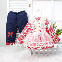 2013 Korean girls winter coat blue and white double-breasted cotton lace cotton printing suit