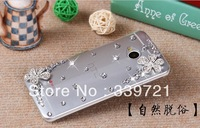 The five petals of crystal Hand Made material of high quality case for HTC One M7.Free shipping