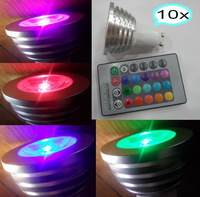 Holiday home party lights 4W GU10 RGB LED Bulb Light 16 Color RGB Change Lamp 110V/220V 10pcs/lot freeshipping