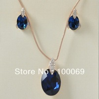 Min.order is $15 (mix order) 18K Rose Gold Plated Sparkling Dark Blue Crystal Simple Style Necklace and Earring Jewelry Set