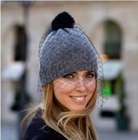 European Style Retro Mesh Winter Hat For Women Warm Knitted Wool  Cap