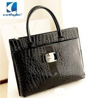 Hot Sale Women Handbag Luxury OL Lady Crocodile Pattern Hobo Tote Shoulder Bag Black & Red WB271 free postage