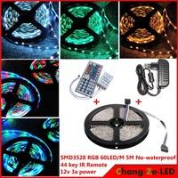 High quality! 5m 300 LED rgb 3528 SMD No-waterproof 12V flexible light 60 led/m, LED strip, + 44 key IR Remote + 12V 3A power