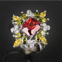R707 sterling silver 925 size6 WOMEN Christmas Fantastic Emerald cut Garnet Peridot Citrine party queen princess crystal ring