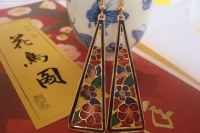 Cloisonne accessories earrings married long female fashion trend design national