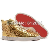Luxury gold sneakers couples bronzing spikes and studs sneakers height increasing sneaker high top booties men casual shoes