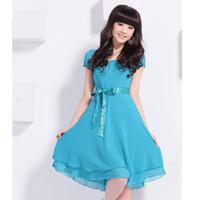 2014 New Fashion Korea Women's Elegance Bow Pleated Vest Chiffon Dress Round Collar Short Sleeve Dress Free Shipping 4 size