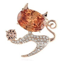 CAT BROOCH WITH DIFFERENT CZ COLOR STONES