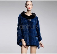 2013  Winter Women's Genuine Whole-Hide Mink Fur Coat 3/4 Sleeve O-Neck Female Outwear  QD29115