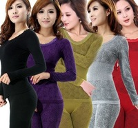 Sexy Women Warm Shaper tight Seamless Body Sculpting Slim Thermal Underwear Set  6colors