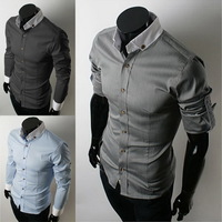 Fashion New Men Shirt Slim Fit Long Sleeve Cotton Casual Solid Stylish Top Black F00964