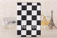30pcs/lot Free shipping 4colours New arrival Big grid new design case for ipad mini 2 Leather cover case for ipad mini
