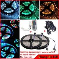 High quality! 10m 300 LED rgb 3528 SMD waterproof 12V flexible light 60 led/m, LED strip, + 44 key IR Remote + 12V 5A power