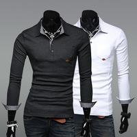 Handsome Men Slim Fit Long Sleeve Chic Boy T Shirt Blouse Top Tee Spread Collar F00997