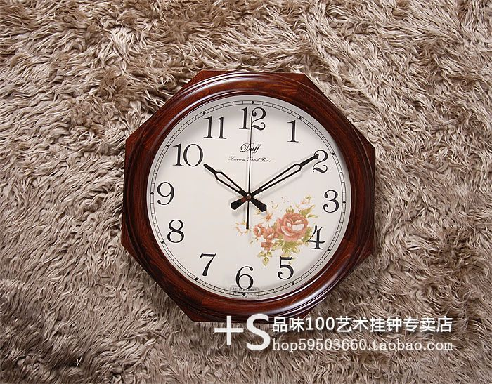 Duff vintage solid wood wall clock big creative clock code(China (Mainland))