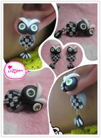 Handmade polymer clay cartoon owl stud earring new arrival personality